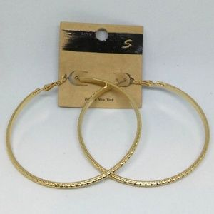 Earrings Gold-Tone Hoop Textured Jewelry 1081